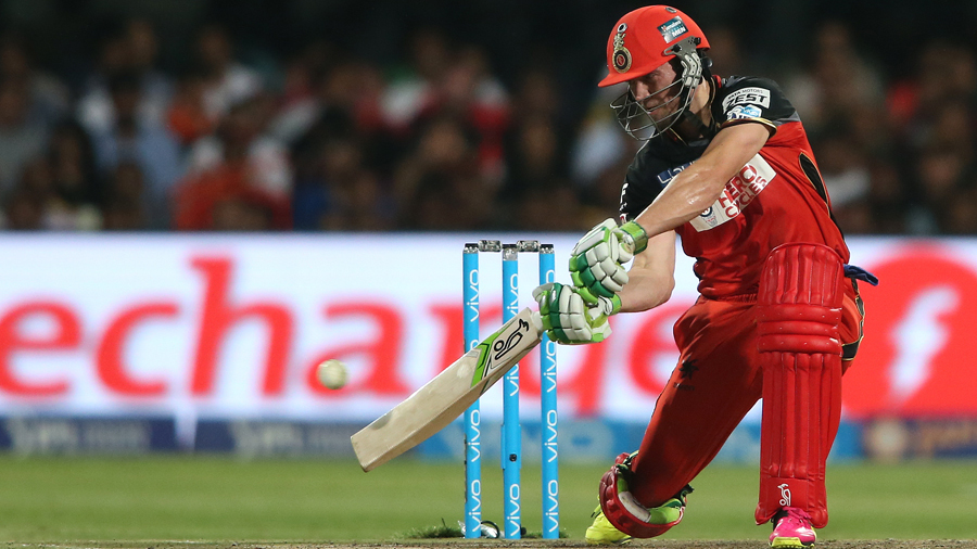 AB de Villiers of Royal Challengers Bangalore square drives a delivery during match 57 (Qualifier 1) of the Vivo IPL (Indian Premier League) 2016 between the Gujarat Lions and the Royal Challengers Bangalore held at The M. Chinnaswamy Stadium in Bangalore, India,  on the 24th May 2016  Photo by Shaun Roy / IPL/ SPORTZPICS